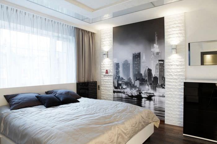 дизайн спальни с фотобоями
