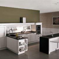 дизайн кухни без верхних навесных шкафов фото интерьер