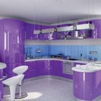 дизайн кухонного гарнитура сиреневого цвета