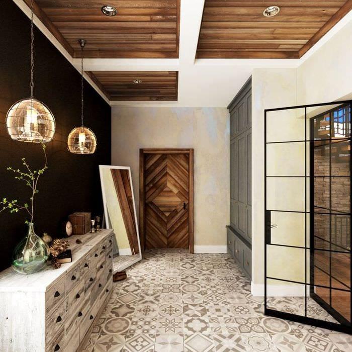 дизайн маленького коридора шале