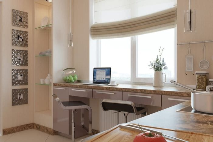 стол подоконник на кухне