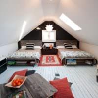 дизайн мансарды в доме оформление спальни