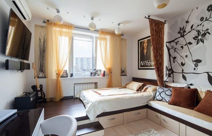 однокомнатная квартира с подиумом