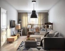 стеллажи в однокомнатной квартире