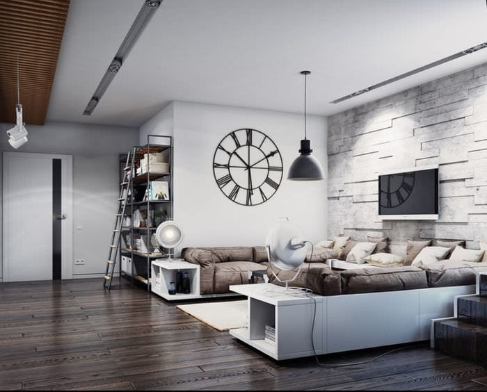 дизайн потолка в гостиной лофт