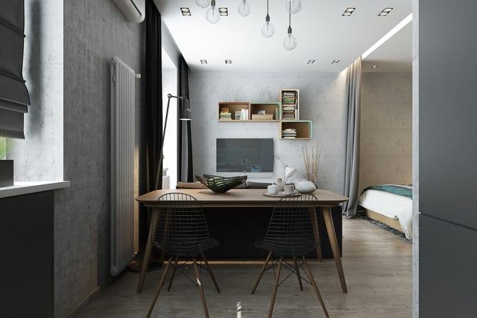 дизайн студии 33 м2 со спальней в нише