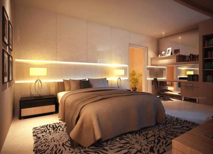 небольшая спальня для семейной пары