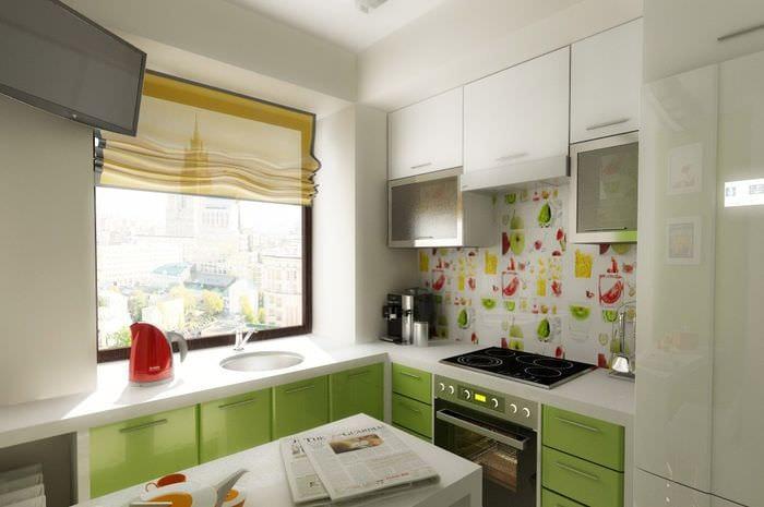 бело зеленый кухонный гарнитур