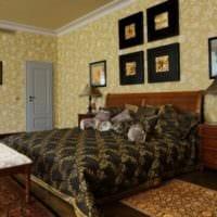 дизайн маленькой спальни с коричневой мебелью