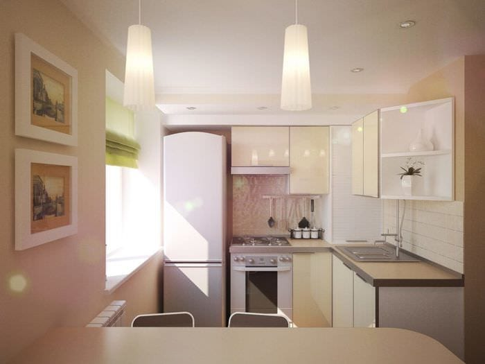 светлый дизайн кухни в хрущевке