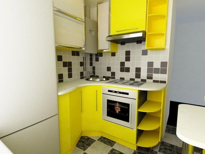 желтый гарнитур на кухне