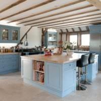 кухня в стиле кантри голубые тона