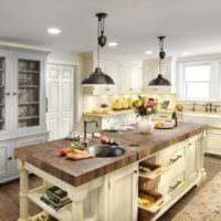 кухня в стиле кантри просторная