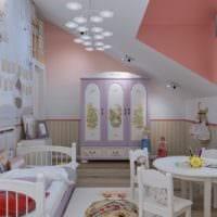 маленькая детская комната дизайн в светлых тонах