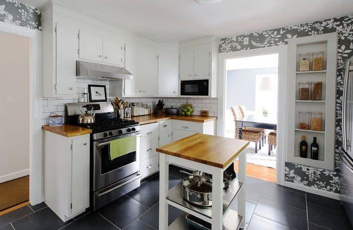 плитка на кухне зонирование