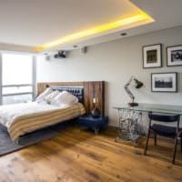 потолок в спальне стильный дизайн