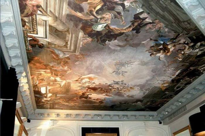 роспись на потолке в спальне фото