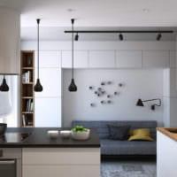интерьер маленькой кухни в однокомнатной квартире
