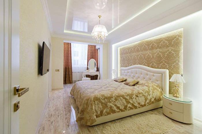 классическая спальня с неоновой подсветкой