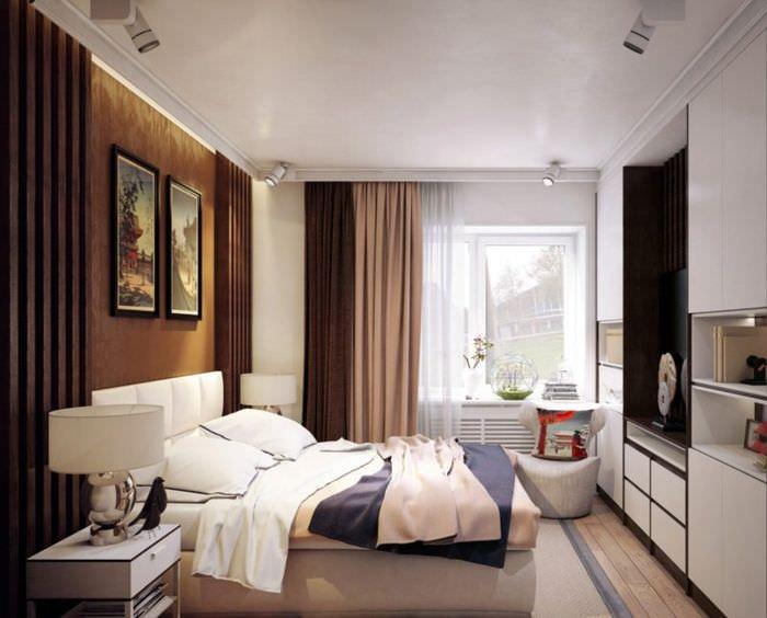 дизайн интерьера спальни 15 кв м