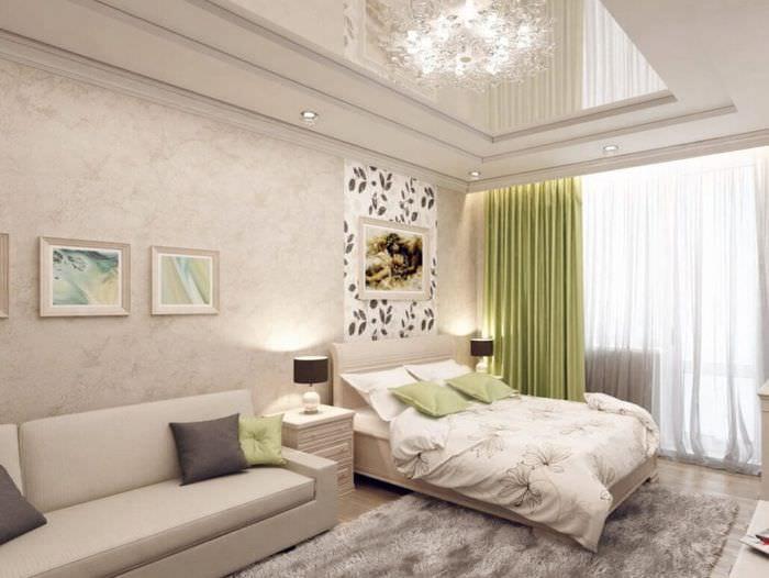 спальня 15 м2 с диваном