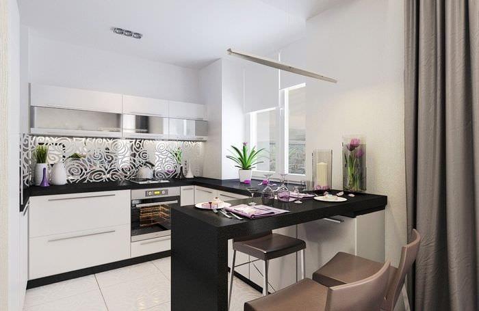 дизайн интерьера прямоугольной кухни