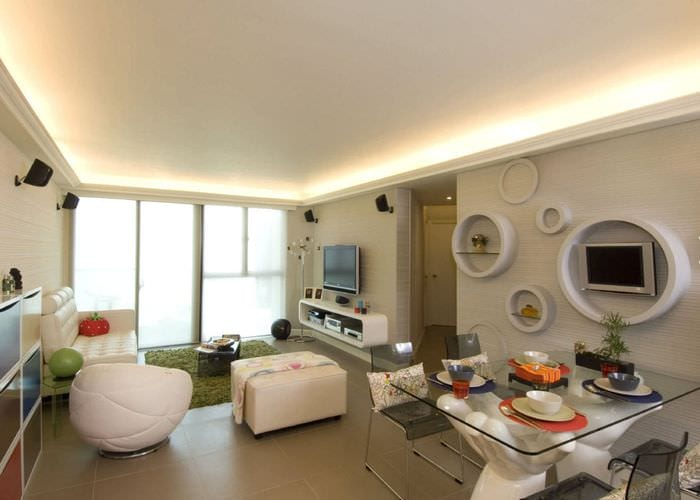 интерьер прямоугольной комнаты