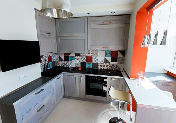 фото дизайна прямоугольной кухни
