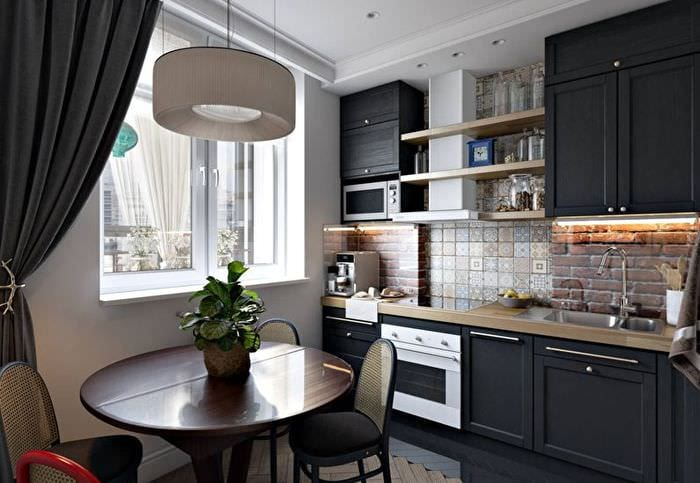 мебель в прямоугольной кухне