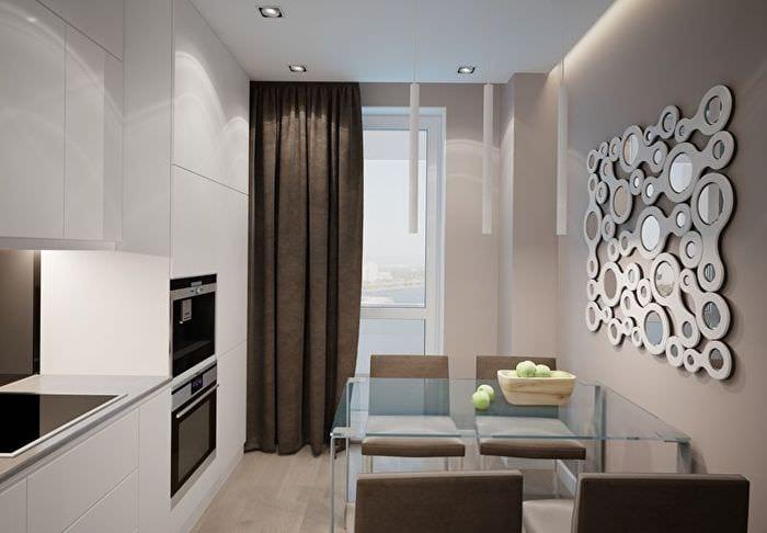 минимализм в прямоугольной кухне