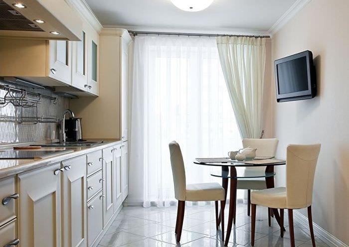 дизайн прямоугольной кухни со столом
