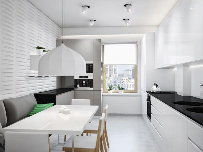 дизайн прямоугольной кухни в светлых тонах