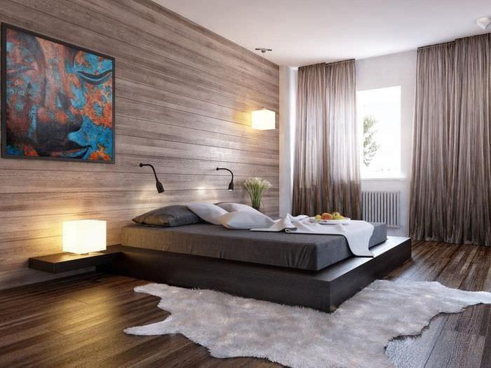 кровать с полками в спальне