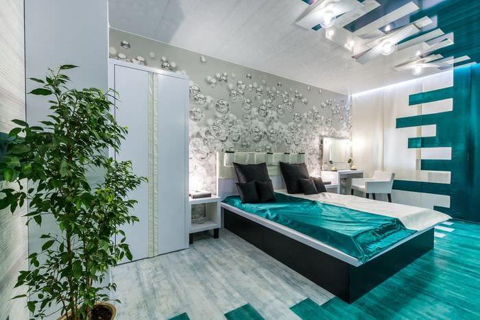 спальня 14 кв м в холодных тонах