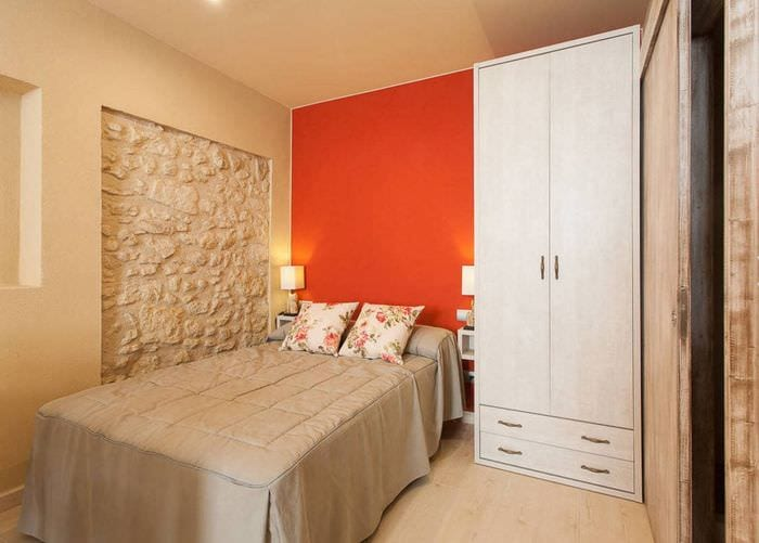 дизайн спальни 9 кв м со шкафом