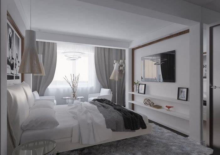 серо белый дизайн спальни