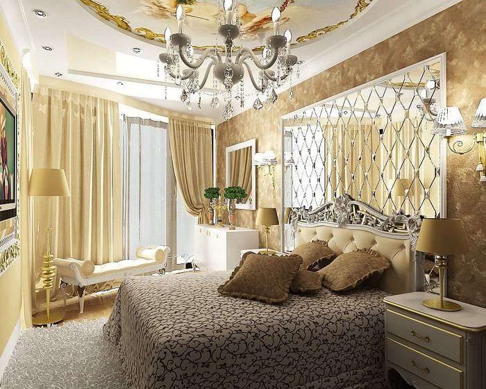 роскошное оформление спальни