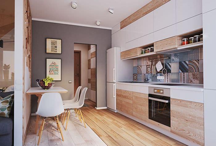 дизайн светлой прямоугольной кухни