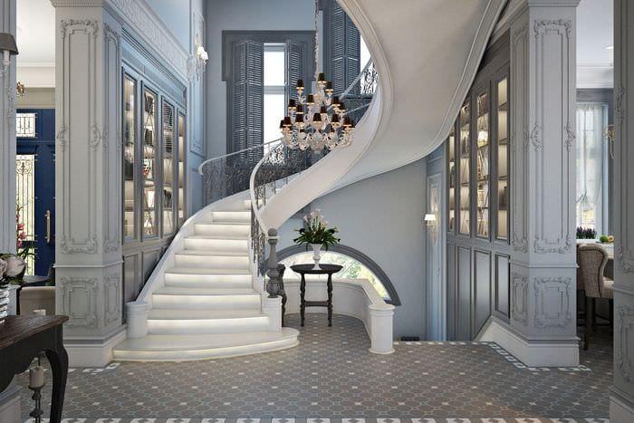 белая лестница в классическом стиле