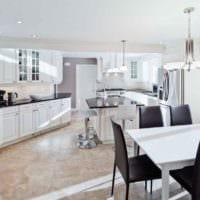 дизайн светлой кухни в доме