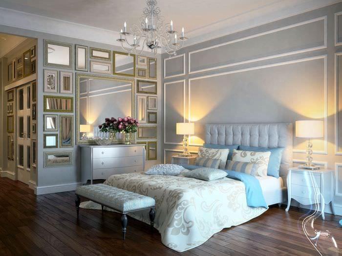ламинат в классической спальне