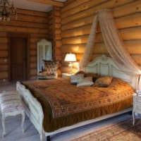 спальня в деревянном доме изящная мебель