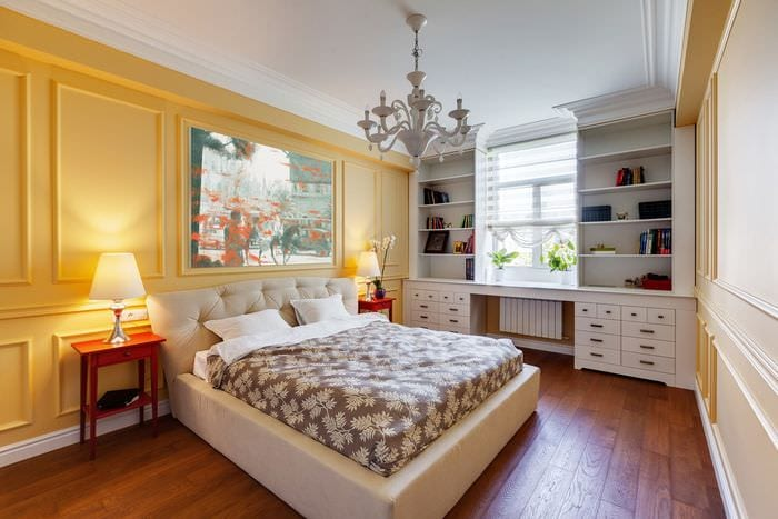 красивый дизайн спальни 14 кв м