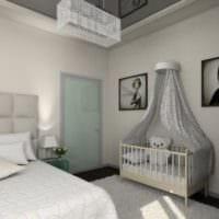 кроватка детская в спальне родителей