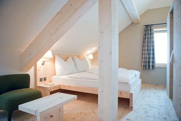 спальня на мансарде с теплым полом