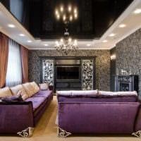 потолок в интерьере гостиной