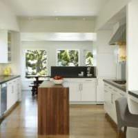 прямоугольная кухня современный интерьер