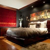 прямоугольная спальня 16 кв м красочное оформление