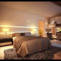 прямоугольная спальня 16 кв м подсветка ниши