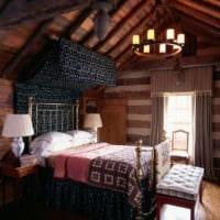 спальня в деревянном доме мансарда